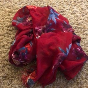 Chico's red floral scarf